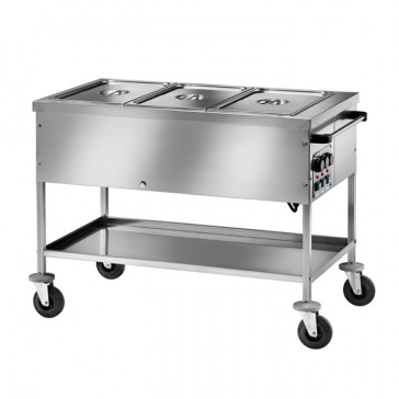 Carrello Bagnomaria Inox con Temperature Differenziate - N° 2 o 3 Bacinelle GN1/1