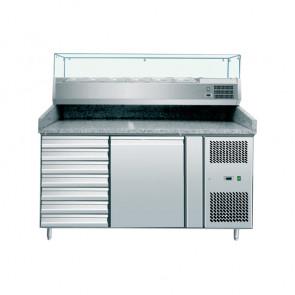 Banco Pizza Refrigerato Ventilato 1 Porta - 7 Cassetti - Vetrina 5 Bacinelle GN1/3 +1 Bacinella GN1/2