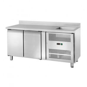 Banco Refrigerato Ventilato GN1/1 con Lavello - 2 Porte - Capacità Lt 282 - Temp -2° +8°C