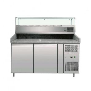 Banco Pizza Refrigerato 2 Porte con Vetrina 5 Bacinelle GN1/3 + 1 Bacinella GN1/2
