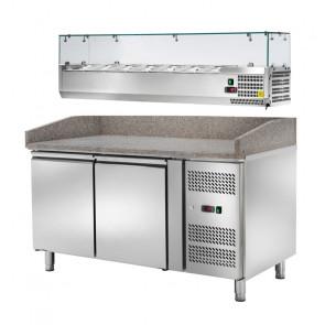 Banco Pizza Ventilato 2 Ante con Vetrina Porta Ingredienti - Capacità Lt 390 - Temp -2° +8°C