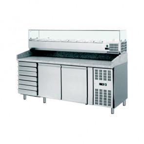 Banco Pizza Refrigerato Ventilato 2 Porte - 7 Cassetti - Vetrina 9 Bacinelle GN1/3