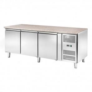 Banco Refrigerato Ventilato per Pasticceria AK3100PM - Top Granito - 3 Porte - Temp. -2° +8°C