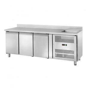 Banco Refrigerato Ventilato GN1/1 con Lavello - 3 Porte - Capacità Lt 417 - Temp -2° +8°C