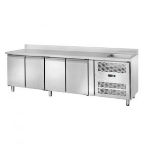 Banco Refrigerato Ventilato GN1/1 con Lavello - 4 Porte - Capacità Lt 553 - Temp -2° +8°C