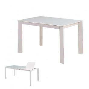 Tavolo Allungabile in Vetro Temperato e MDF - 1 Allunga - Colore Grigio - Cm 120/170 x 80 x 76 h