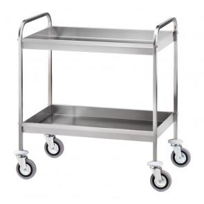 Carrello di Servizio Inox AISI 304 per Sbarazzo Tavoli - 2 Vasche Cm 6,5 h