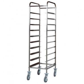 Carrello Porta Vassoi GN1/1 in Acciaio Inox - Capacità 10 Vassoi