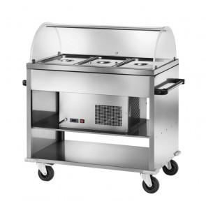 Carrello Refrigerato Inox CAR2780 con Cupola - N° 3 Bacinelle GN1/1 - Temperatura Positiva o Negativa