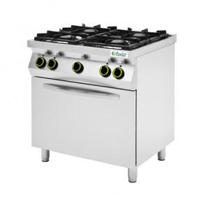 Cucina a Gas 4 Fuochi con Forno Elettrico - Capacità 4 Teglie GN1/1