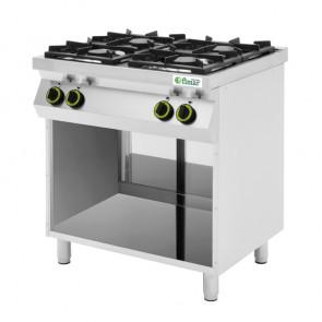 Cucina a Gas 4 Fuochi con Vano a Giorno - Acciaio Inox