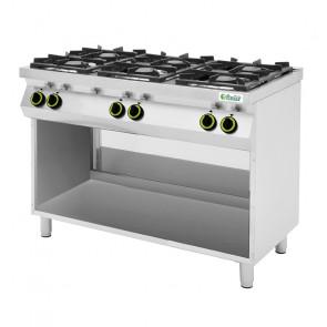 Cucina a Gas 6 Fuochi con Vano a Giorno - Acciaio Inox