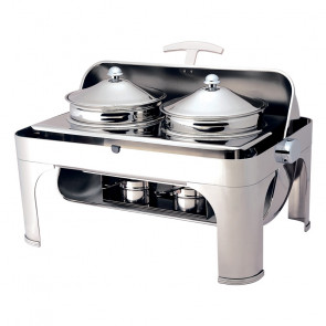 Chafing Dish con Coperchio Roll Top - N° 2 Pentole Lt 4,6