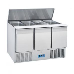 Saladette Refrigerata Statica GN1/1 3 Porte - Top Inox Apribile - Capacità Lt 365