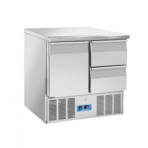 Saladette Refrigerata Statica GN1/1 1 Porta + 2 Cassetti - Top Inox - Capacità Lt 215