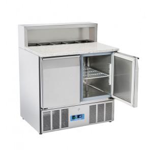 Saladette Refrigerata Statica 2 Porte - Top in Granito - 5 Vaschette GN1/6 - Capacità Lt 260