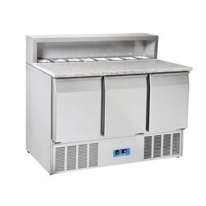 Saladette Refrigerata Statica 3 Porte - Top in Granito - 8 Vaschette GN1/6 - Capacità Lt 415