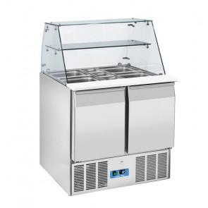 Saladette Refrigerata Statica GN1/1 2 Porte - Top in Vetro Temperato - Capacità Lt 230