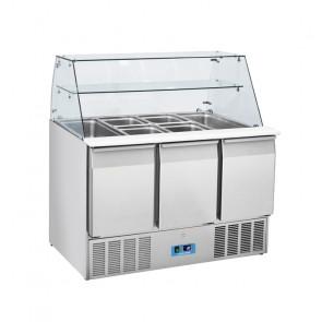 Saladette Refrigerata Statica GN1/1 3 Porte - Top Curvo in Vetro - Capacità Lt 365