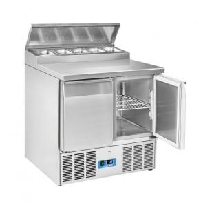 Saladette Refrigerata Statica 2 Porte - Top in Acciaio Inox - 5 Vaschette GN1/6 - Capacità Lt 240
