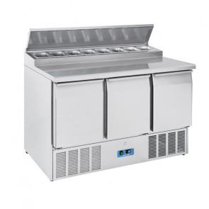 Saladette Refrigerata Statica 3 Porte - Top in Acciaio Inox - 8 Vaschette GN1/6 - Capacità Lt 390