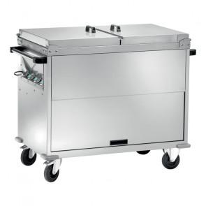 Carrello Bagnomaria Armadiato Acciaio Inox CT1765TD - Coperchi Apribili e Temperature Differenziate