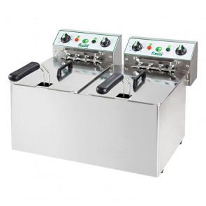 Friggitrice da Banco FR88 Vasca Doppia - Acciaio Inox AISI 304 - Capacità Lt 8 + 8 - Prod Oraria 8 + 8 Kg/h