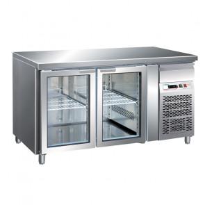 Tavolo Refrigerato 2 Porte in Vetro GN 1/1 Ventilato Cm. 136 x 70 x 85/95 h con Luce