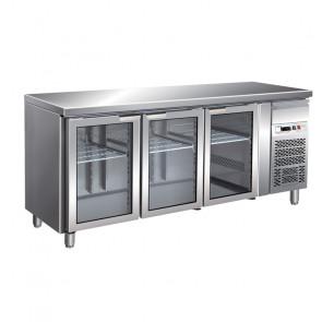 Tavolo Refrigerato 3 Porte in Vetro GN 1/1 Ventilato Cm 179,5 x 70 x 85/95 h con Luce