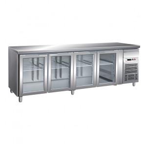 Tavolo Refrigerato 4 Porte in Vetro GN 1/1 Ventilato Cm 223 x 70 x 85/95 h con Luce
