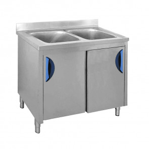 Lavatoio con Mobile Ante Scorrevoli 2 Vasche, Profondità 70 cm