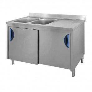 Lavatoio Armadiato 2 Vasche + Sgocciolatoio Destro, Profondità 70