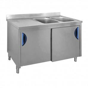 Lavatoio Armadiato 2 Vasche + Sgocciolatoio Sinistro, Profondità 70