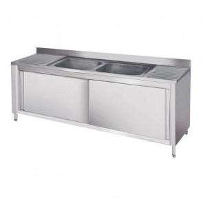 Lavatoio Armadiato in Acciaio Inox - 2 Vasche Centrali - Cm. 200 x 70 x 95 h