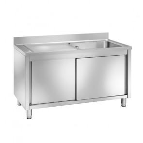 Lavatoio in Acciaio Inox Armadiato - 1 Vasca - Profondità Cm 70 - Varie Misure