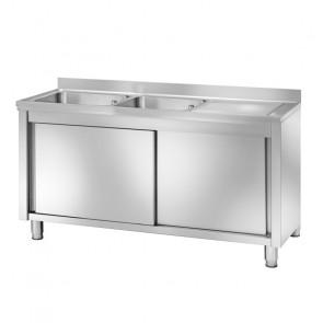 Lavatoio Armadiato in Acciaio Inox - 2 Vasche - Profondità Cm 70 - Varie Misure