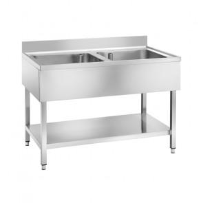Lavatoio in Acciaio Inox - 2 Vasche Senza Gocciolatoio - Cm 120 x 70 x 95 h
