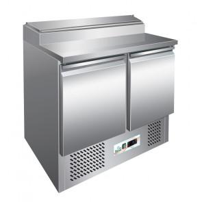 Saladette Statica PS200 - 2 Porte + Alzatina Inox N° 5 Bacinelle GN1/6 - Capacità Lt 254