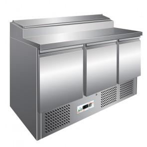Saladette Refrigerata Statica PS300 3 Porte con Alzatina 8 Bacinelle GN1/6 - Temp +2° +8° C