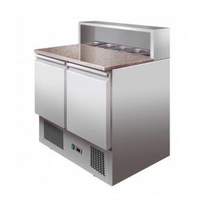 Saladette Statica PS900 - Piano in Granito + 5 Bacinelle GN1/6 - Capacità Lt 288
