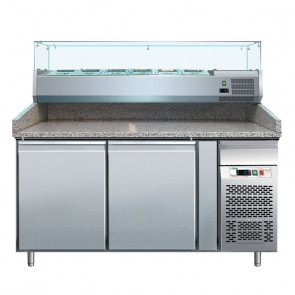 Banco Pizza Refrigerato PZ2600TN33 2 Porte con Vetrina da 7 Vaschette GN 1/4