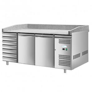 Banco Refrigerato per Pizza - 2 Porte + Cassettiera - Cm. 202 x 80 x 100 h