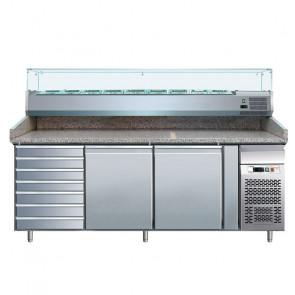 Banco per Pizza PZ2610TN33 2 Porte con Cassettiera e Vetrina da 10 Vaschette GN1/4