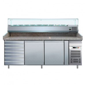 Banco per Pizza PZ2610TN38 2 Porte con Cassettiera e Vetrina da 9 Vaschette GN1/3