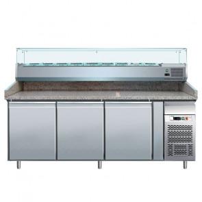 Banco per Pizza PZ3600TN38 3 Porte con Vetrina da 9 Vaschette GN1/3