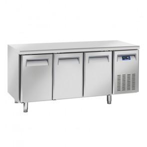 Tavolo Refrigerato Ventilato per Gastronomia 3 Porte - Profondità Cm 70 - Capacità Lt 400