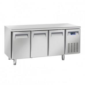 Tavolo Refrigerato Ventilato per Pasticceria e Pizzeria 3 Porte - Profondità Cm 80 - Capacità Lt 640