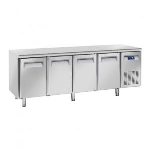 Tavolo Refrigerato Ventilato per Gastronomia 4 Porte - Profondità Cm 70 - Capacità Lt 570
