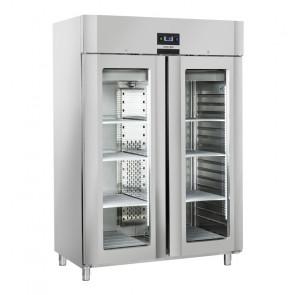 Armadio Refrigerato Ventilato Porta Doppia in Vetro QRG14 +3° +10°C GN 2/1