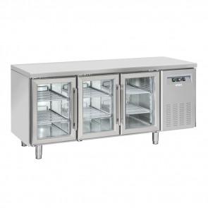 Tavolo Refrigerato Ventilato 3 Porte a vetro - Profondità Cm 60 - Capacità Lt 358